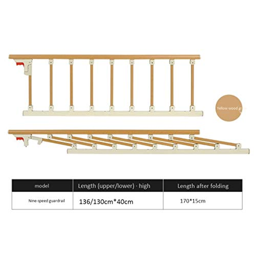 LDG Bedgreep, veiligheids- en hulpleuning, inklapbaar bedrooster, draagbaar bedrooster voor ouderen, babybed, aluminiumlegering, kleur: geel,afmetingen: 130 x 40 cm