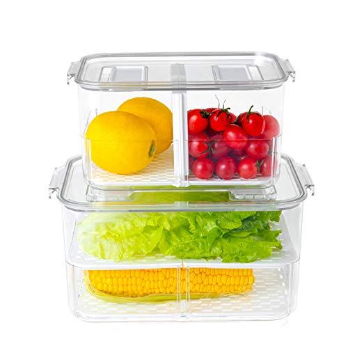 Contenedores de almacenamiento de alimentos apilables para frigorífico, organizador de refrigerador, con tapas y bandeja de drenaje...