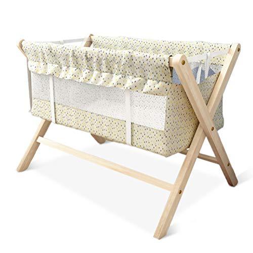 Sauce Pan babywieg, massief hout zonder kleur, opvouwbaar, voering van bamboevezel, gemakkelijk te monteren, volledig bekleding babybed is gemakkelijk te reinigen en neemt niet in beslag.