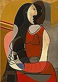 XUSANSHI Cuadro de Lienzo Mujer sentada Reproducciones de Pablo Picasso Impresiones de Arte de fama Mundial Cuadros Abstractos de Pared de Picasso 60x90cm