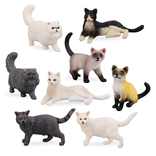 TOYMANY 8PCS Small Black White Cat Figurines, Realistic Educational Cat Figures Toy Set, Kitten Easter Eggs Cake Topper Christmas Birthday Gift Diorama School Project for Kids Children