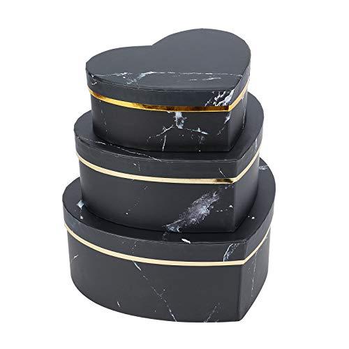 BENECREAT 3 Pack Caja de Regalo de Cartón con Patrón de Textura de Mármol Caja Negra de Papel Craft en Forma de Corazón para Joya, Cosmético, Dulce, Chocolate