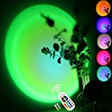 Sunset Lamp Color Changing, 16 in 1 Rainbow Sunset Light Projector with Remote, Dimmable 180°Rotation USB Powered Romantic LED Night Light for Self Media Bedroom Background Room Decoration