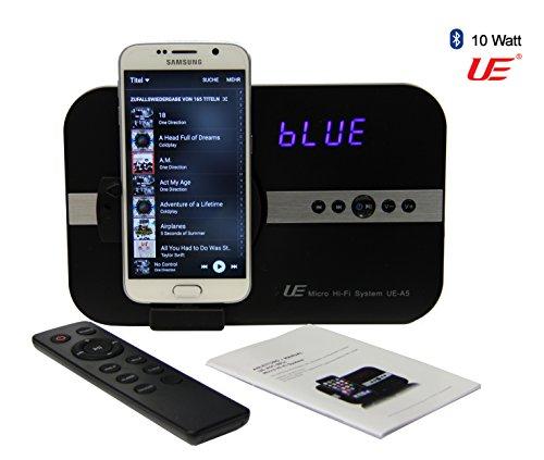 A5-Uhr-MICRO: 10 Watt Sound System mit Wecker Uhr Radio für *Samsung Galaxy Note S2 S3 S4 S6 S7 Mini Tab 4 Alpha Grand Prime Young K zoom & Bluetooth Stereo Fernbedienung Soundsystem - schwarz