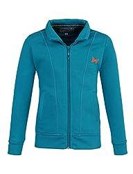 Monte Carlo Blue Solid Cotton Polo Collar Sweatshirts