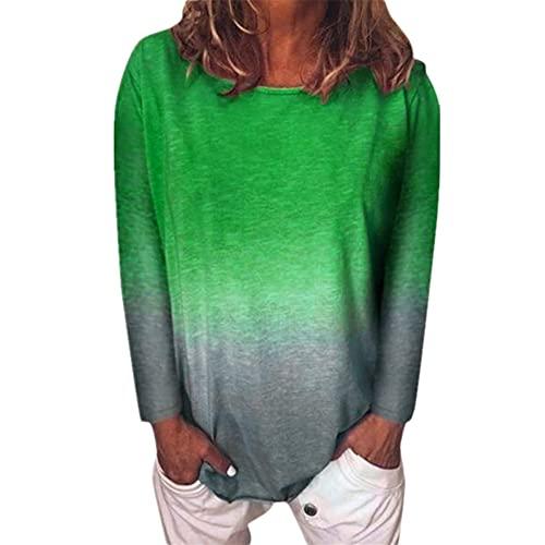 Camiseta Mujer Tops Mujer Elegante Degradados De Color Gran Tamaño Telas Suaves Camisetas Mujer Verano Casual Cuello Redondo Manga Larga Suelta Fibra Elástica Blusas Transpirables A-Green L