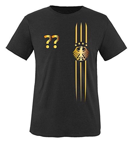 Trikot - MOTIV1 - DE - WUNSCHDRUCK - Kinder T-Shirt - Schwarz/Gold Gr. 122-128