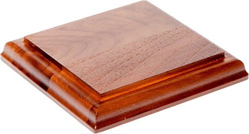 Plymor Solid Walnut Square Wood Display Base with Ogee Edge, 0.75