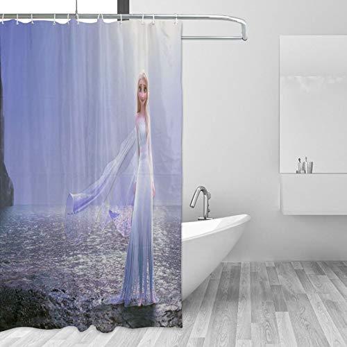 Die Eiskönigin Elsa Duschvorhang, 168 x 183 cm, schlicht, geometrisch, klein, Stoff, Badezimmer-Vorhang-Sets mit Haken, dekoratives Spa-Hotel, schwer, einzelne Badvorhänge
