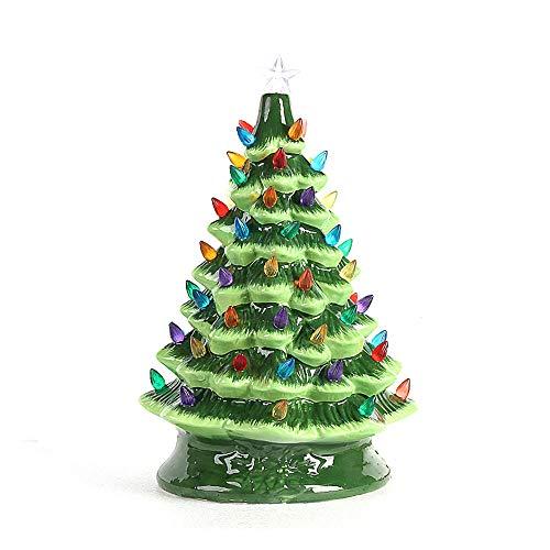 LouisaYork - Albero di Natale in ceramica, da tavolo, con luci multicolori, decorazione per albero di Natale per decorazioni natalizie, colore: Verde