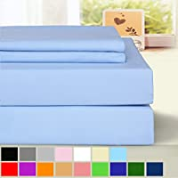 BLC Bed Sheet Set, Hypoallergenic Microfiber 4-piece sheets with 14-Inch Deep Pocket (Queen, Lake Blue)