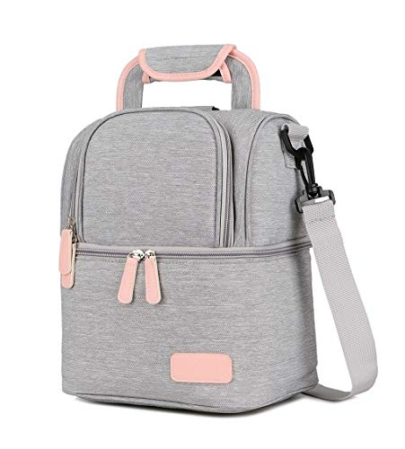 Meichoon Breast Pump Backpack Breastmilk Cooler & Insulated Baby Bottle Bag Waterproof - Portable Thermal Insulated Lunch Bag/Large Capacity Handbag/Baby Milk Freezer for Work Mommy Women XC01 Grey