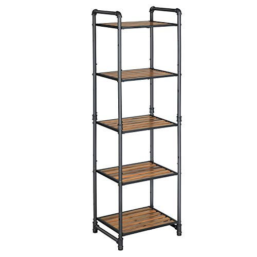 VASAGLE Bathroom Shelf, 5-Tier DIY Storage Rack, Industrial Style Extendable Plant Stand with...