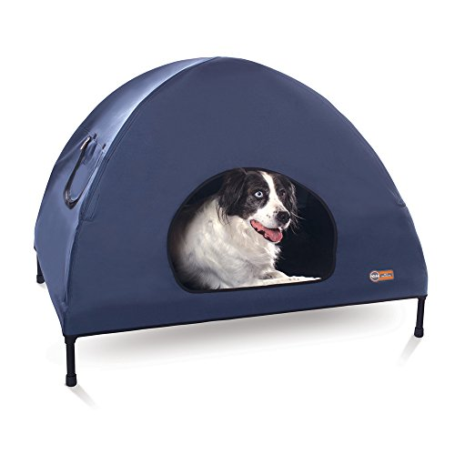 """K&H Pet Products Original Pet Cot House Large Navy Blue - Indoor & Outdoor Elevated Pet Bed & Shelter (30"""" x 42"""" x 32"""")"""