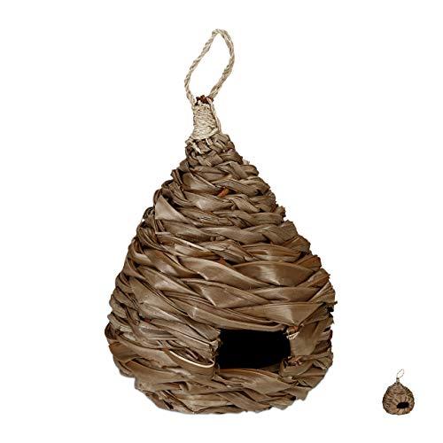 Relaxdays vogelnest, decoratieve nestkast, hangend, kokosvezel, gevlochten, tuin, balkon, nest HxD, natuur B