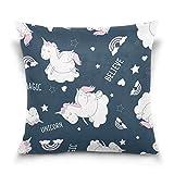 Funda de almohada decorativa cuadrada con diseño de unicornio, corazón y corazón de arcoíris para sofá cama, doble cara, 66 x 66 cm