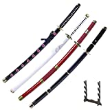 Sword Valley Handmade Katana Japanese Samurai Sword, Roronoa Zoro Anime Swords, Razor Sharp Knives, Kitetsu, Shusui, Wado Ichimonji, Yubashiri 4 Piece Set Regular Version