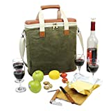 3 Bottle Wax Canvas Wine Cooler Bag/Insulated Wine Carrier for Travel/Champagne Carrying Tote/Wine