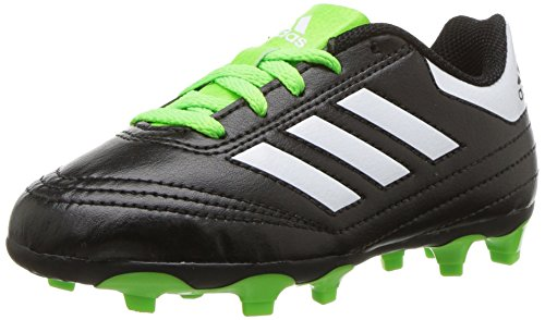 adidas Performance  Kids' Goletto VI FG J Soccer Shoe, Black/White/Sgreen, 9.5 Medium US Little Kid