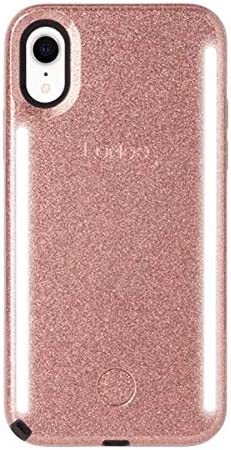 LuMee Duo Phone Case, Rose Glitter   Front & Back LED Lighting, Variable Dimmer   Shock Absorption, Bumper Case, Selfie Phone Case   iPhone XR Only