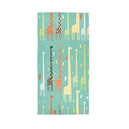 NBHBVGFC Toalla de baño suave con diseño de jirafa, diseño de lunares y lunares, 76,2 x 38,8 cm