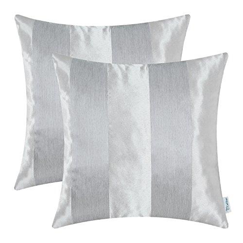 CaliTime Pack de 2 Fundas de Cojines Fundas para Fundas de Almohadas Fundas para sofá de sobremesa Decoración para el hogar, Rayas Modernas, 50cm x 50cm, Gris Plateado