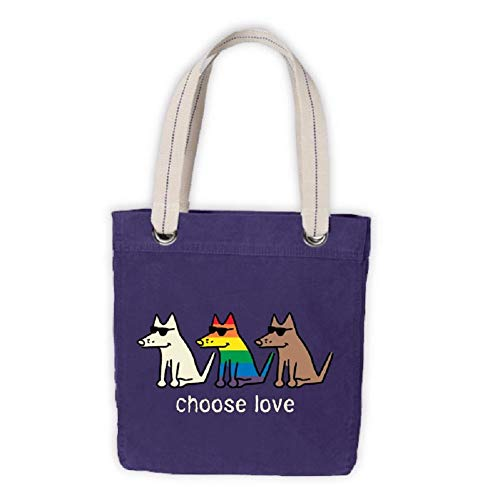 Tragetasche aus Segeltuch, Motiv: Teddy der Hund Choose Love, Regenbogen-Pride Month Gay Pride für Hundebesitzer, Spende für das Trevor Projekt