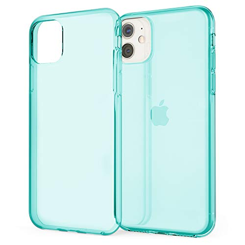 NALIA Phone Case Compatible with iPhone 11, Slim See Through Cover Protective Silicone Gel Sturdy Bumper, Soft Shockproof Mobile Cell Protector Crystal Back Skin Rugged Shell, Color:Cyan