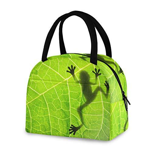 RELEESSS Isolierte Lunchtasche mit lustigem Froschblatt-Motiv, wiederverwendbare Kühltasche für Damen Herren Mädchen Jungen