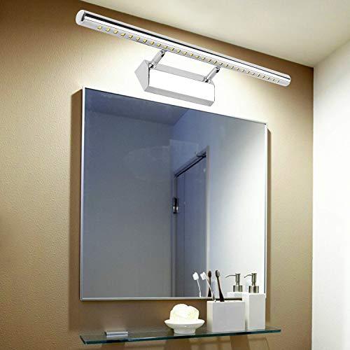 Wilktop Lámpara de espejo LED de 7 W/55 cm, luz blanca cálida, lámpara de baño con interruptor, lámpara de pared con cable de tierra, 490 lm, 180°, acero inoxidable IP44