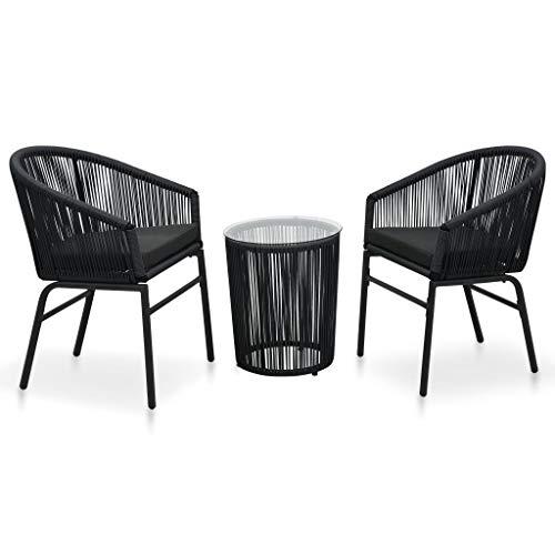 pedkit Set Muebles de Jardín 3 Piezas con Cojines Mesa y Sillas de Jardin Exterior Ratán de PVC Negro