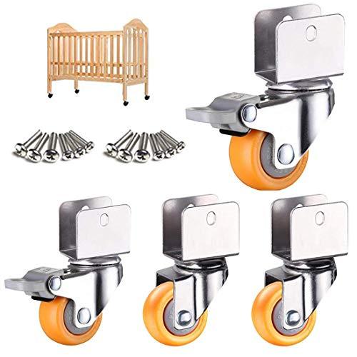 Ruedas giratorias de 1,5 pulgadas y 38 mm, ruedas giratorias para muebles con soporte en U, ruedas de nailon adecuadas para cunas, ruedas para cama, ruedas giratorias universales con abrazadera en U