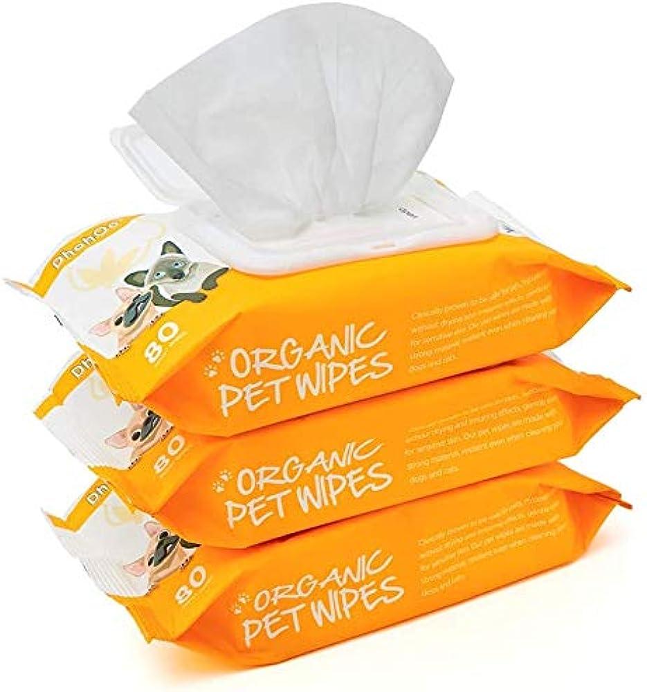 Dhohoo, salviette detergenti ipoallergeniche per cani e gatti, 3 pacchi da 80 pezzi ciascuno