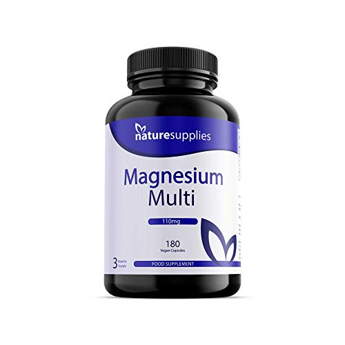 Magnesium Multi Capsules 180 Pack, The Best Magnesium Supplement On The Market, High Absorption 4 Magnesium Powders In One Capsule, Citrate, Malate, Ascorbate and Bis-Glycinate - Naturesupplies