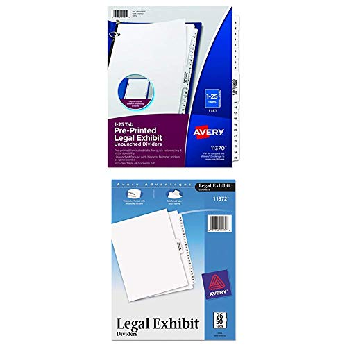 Avery Premium Collated Legal Exhibit Divider Set, 26-50 and Table of Contents, 8.5 x 11 Inches, White & Premium Collated Legal Exhibit Divider Set, 1-25 and Table of Contents, 8.5 x 11 Inches