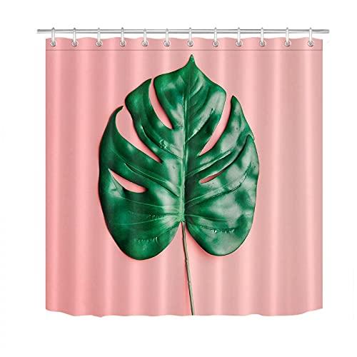 Duschvorhänge Schimmelwiderstandsfähiges tropisches Palmblatt Close-Up Badezimmer Polyestergewebe Duschvorhang Liner Haken-180x180cm