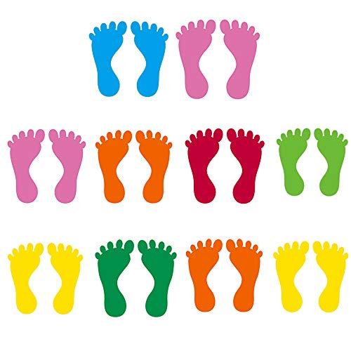 10 Pares Niños Pegatinas Huellas, Calcomanías de Piso de Huellas, PVC Autoadhesivo Encantador Pegatinas de Escaleras Pared para Escuela, Hogar, Decoración Jardín Infantes (Color Aleatorio)