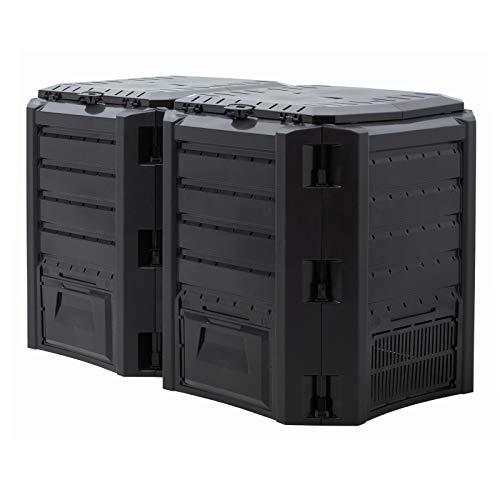 DeTec Komposter | Schnellkomposter | Gartenkomposter | aus Kunststoff | PVC | 380 Liter 800 Liter 1200 Liter 1600 Liter | Garten Schwarz (800 Liter)