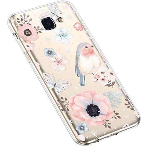 Uposao Kompatibel mit Samsung Galaxy A5 2016 Hülle Blumen Muster Transparent TPU Silikon Handyhülle Ultradünn Durchsichtige Schutzhülle Crystal Clear Case Handytasche,Schmetterling