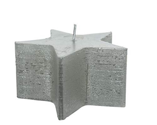 Vela rústica metálica plateada con estrella de 10 x 5 cm, selección de papelería varzi desde 1956