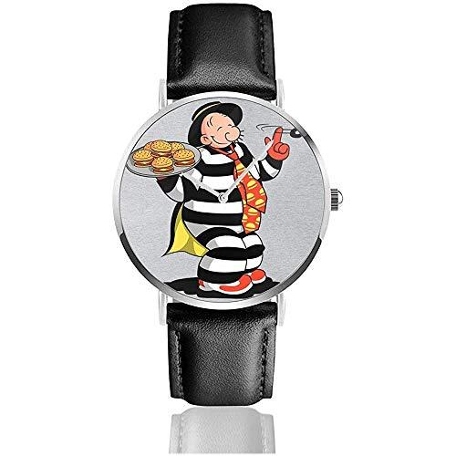 Diebstahl Wimpy Hamburgler Popeye McDonalds Uhren Quarzlederuhr mit schwarzem Lederband für Sammlungsgeschenk