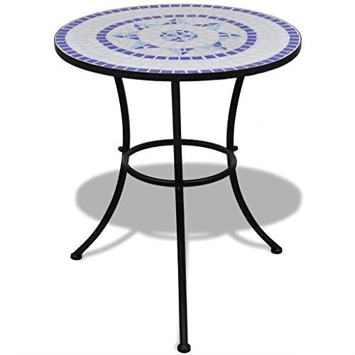 vidaXL Mosaic Table 60cm Blue and White Outdoor Garden Balcony Patio Furniture