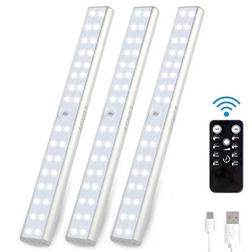 LUNSY 32 LED bajo el gabinete de iluminación control remoto, 220 lm, luz inalámbrica para armario recargable, luces magnéticas para mostrador, paquete de 3