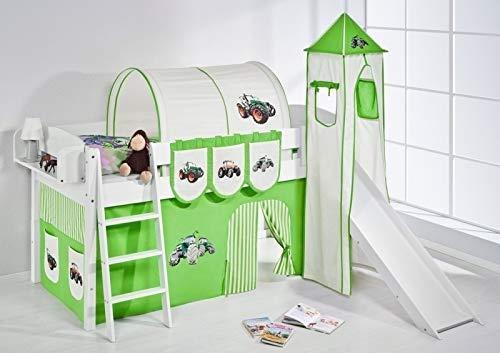 Lilokids Spielbett IDA 4105 Trecker Grün Beige-Teilbares Systemhochbett weiß-mit Turm, Rutsche und Vorhang Kinderbett, Holz, 208 x 220 x 185 cm