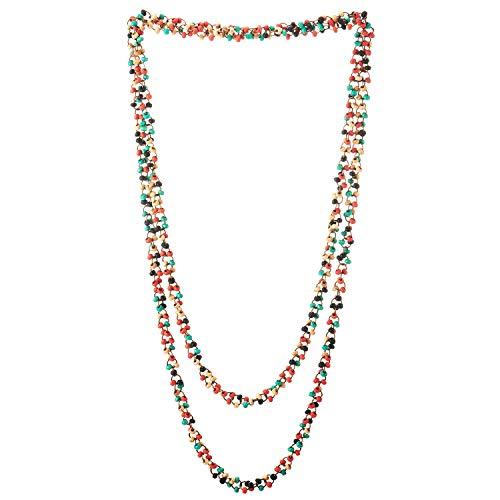 COOLSTEELANDBEYOND Hermoso Colorido Madera Perla Largo Cadena Babero Gargantilla Collar con Colgante, Multi-Hilo