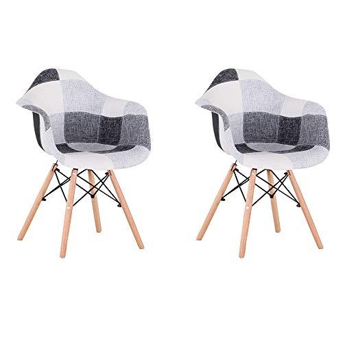 Sillas de Comedor Juego de 2 sillones Modernos de Mediados de Siglo Silla Lateral tapizada de Retazos con reposabrazos,Ideal para Sala de Estar,Comedor,cafetería (Black)
