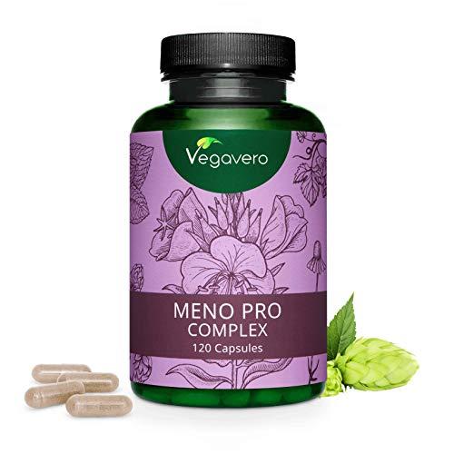 VEGAVERO® Meno Pro Complex für die Wechseljahre | 100% NATÜRLICH & HORMONFREI | Nachtkerze, Hopfen, Salbei, Kamille, Melisse | 120 Kapseln | Ohne Zusatzstoffe | Laborgeprüft | Vegan