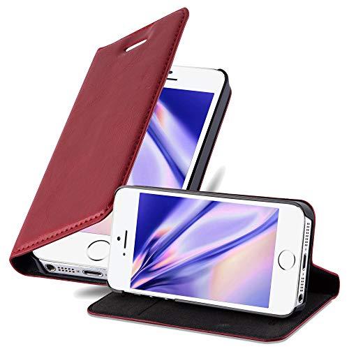 Cadorabo Custodia Libro per Apple iPhone 5 / iPhone 5S / iPhone SE in Rosso Mela - con Vani di Carte, Funzione Stand e Chiusura Magnetica - Portafoglio Cover Case Wallet Book Etui Protezione