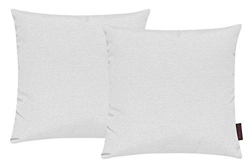 Fino Kissenhülle ca. 40 x 40 cm hochwertig & knitterarm Farbe 02 Weiß (2er Set)