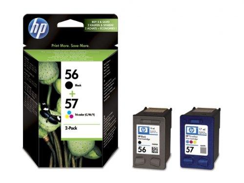 HP 56/57, Kombipackung, Druckerpatronen 1 x Schwarz/dreifarbig (Cyan, Magenta, Gelb)